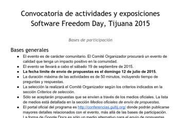 Bases de Participación, Software Freedom Day Tijuana, 2015